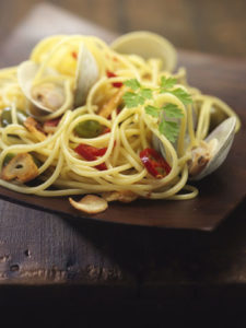 John Carafoli cooks homemade linguine with clams